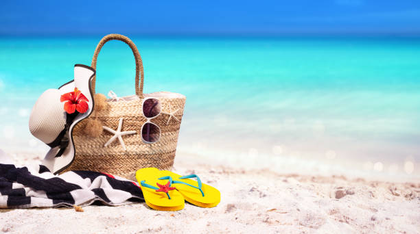 Beach Bag On Seashore-Summer At Sea – Foto