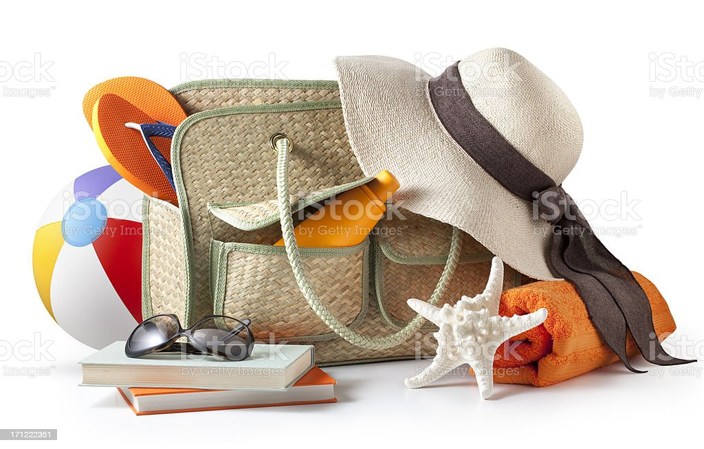 Beach bag stock photo