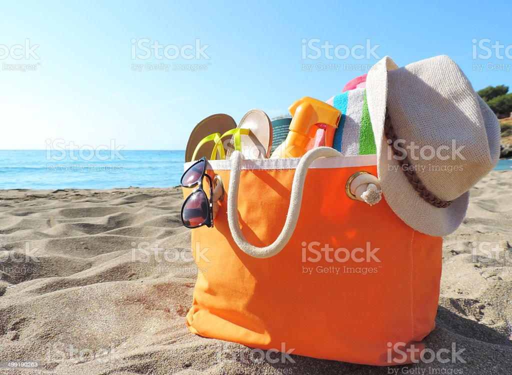 Beach bag stock photo