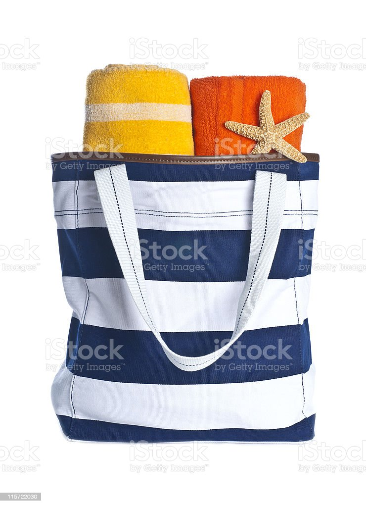 Beach Bag with Colorful Towels and Starfish stock photo