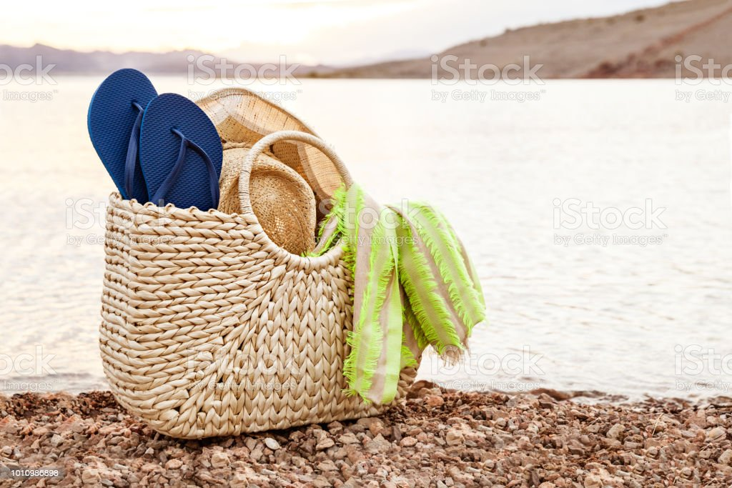 Beach Bag With Flip Flops And Hat For Summer Vacation stock photo