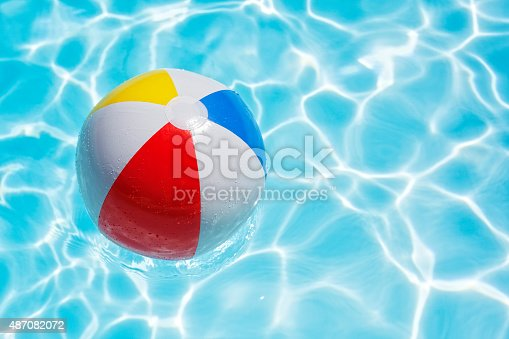 istock Beach ball in swimming pool 487082072