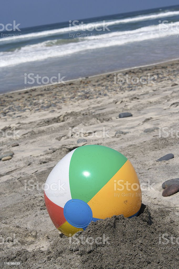 Beach Ball in the Sand royalty-free stock photo