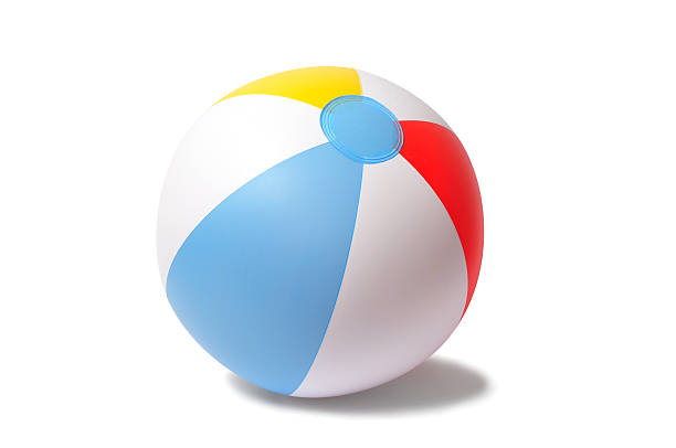 beach ball on white background - beach ball stock photos and pictures