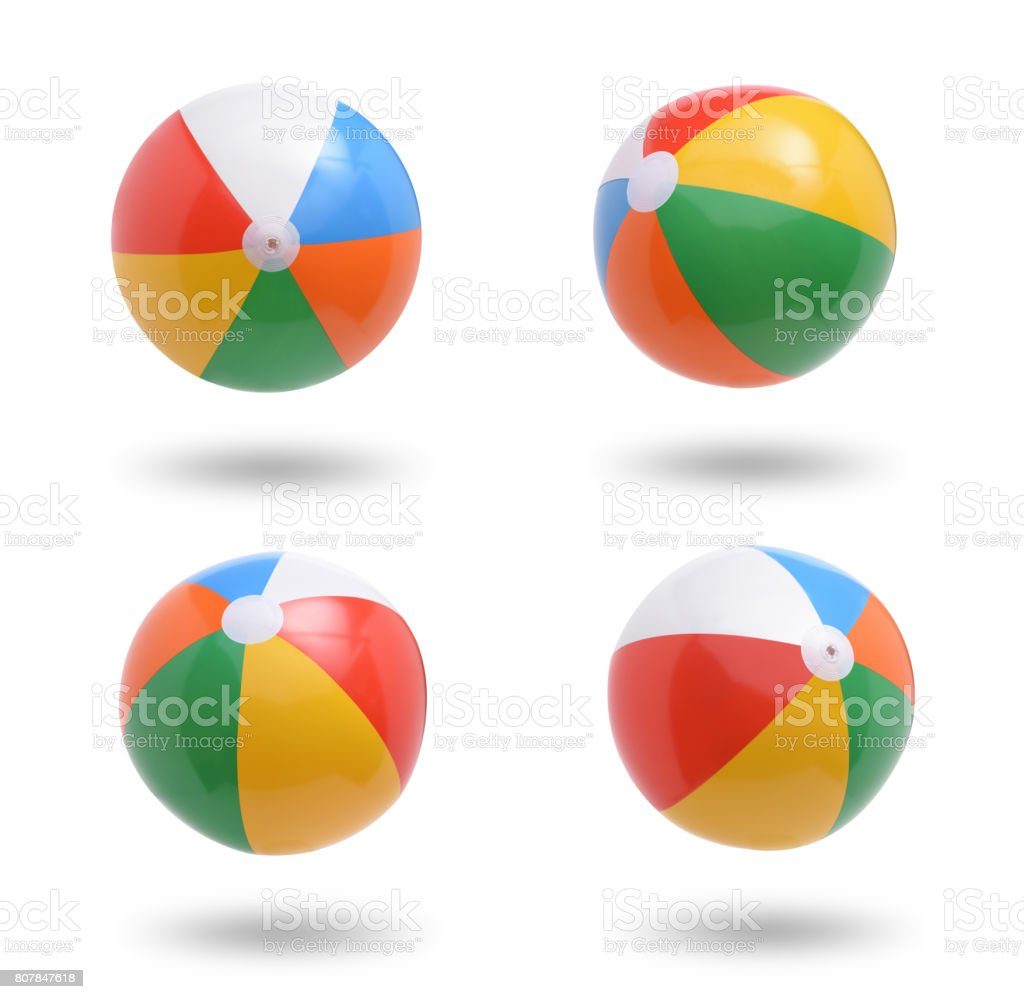 Beach balls collection isolated on white background stock photo