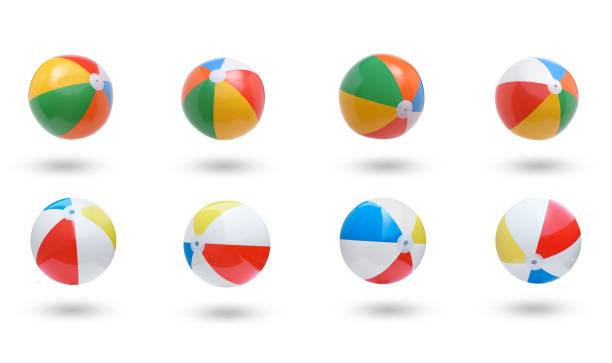 beach balls collection isolated on white background - icon set healthy foto e immagini stock