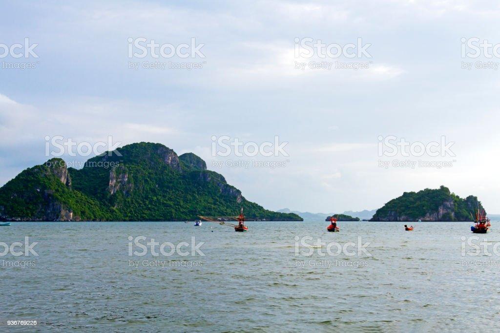 Beach Bang Boet and small island at Chumphon Province stock photo