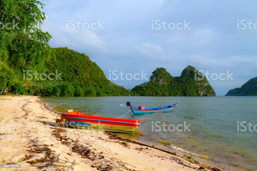 Beach Bang Boet Beach, and small boat at Chumphon Province stock photo