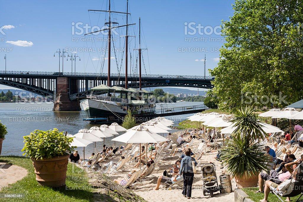 Beach bar and restaurant ship at River Rhine stock photo