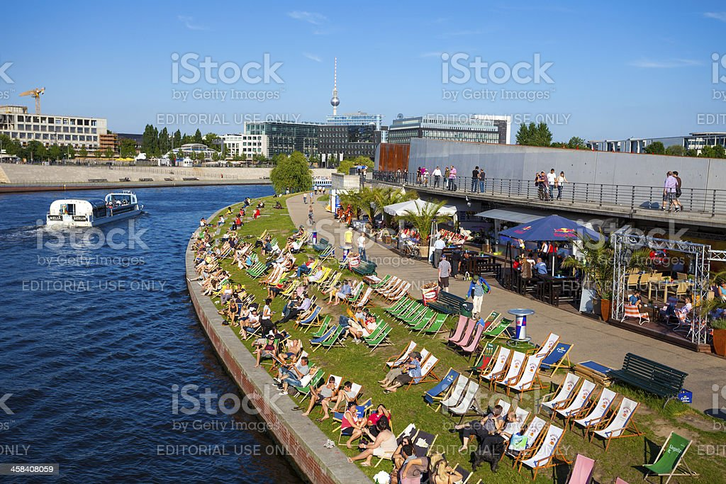 Beach Bar by the Spree, Berlin stock photo