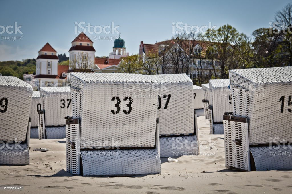 Beach basket. Great time on Rügen, Chalk Cliffs, Beaches, Coast and bathing resort Binz. stock photo