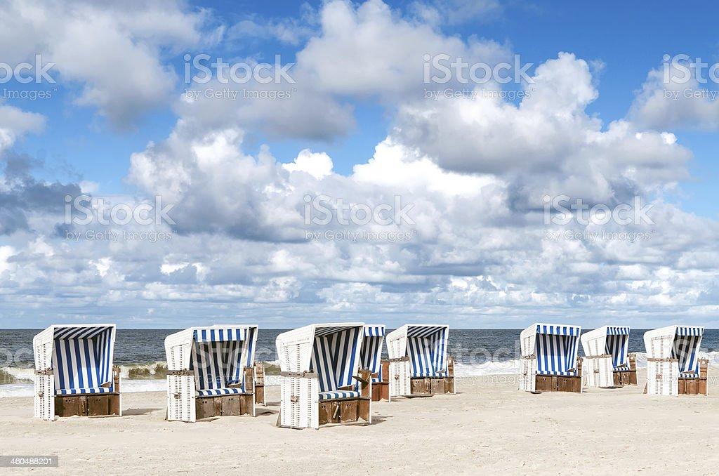 Beach baskets on the island Sylt stock photo