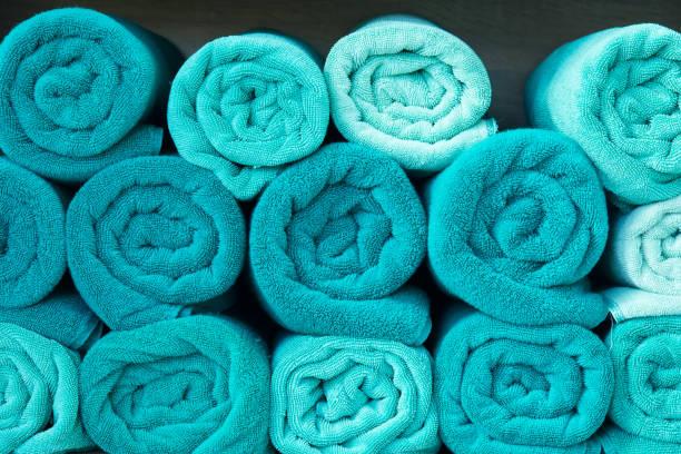 Strand Bad Handtuch Rollen blauen Stoff Textur Tuch Hintergrund verwendet für Schwimmbad – Foto