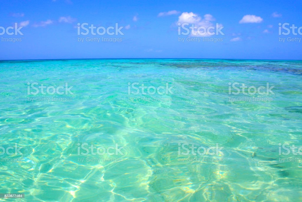 Beach bath under the summer sun - Idyllic Arashi tropical Beach, sunny turquoise blue translucent moored lagoon, summer paradise, Aruba – Dutch Antilles, Caribbean Blue sea stock photo