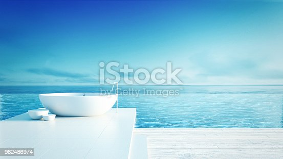 istock Beach bathroom - Luxury and modern hotel / 3D render interior 962486974