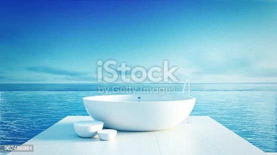 istock Beach bathroom - Luxury and modern hotel / 3D render interior 962486984