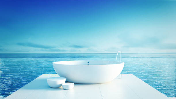 Beach bathroom - Luxury and modern hotel / 3D render interior Beach bathroom - Luxury and modern hotel / 3D render interior indochina stock pictures, royalty-free photos & images