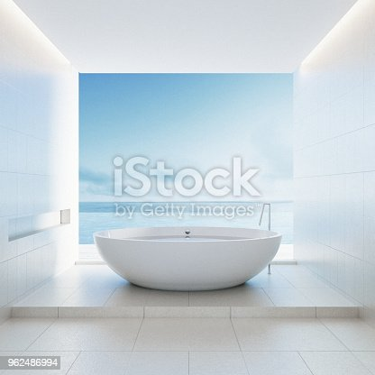 istock Beach bathroom - Luxury and modern hotel / 3D render interior 962486994