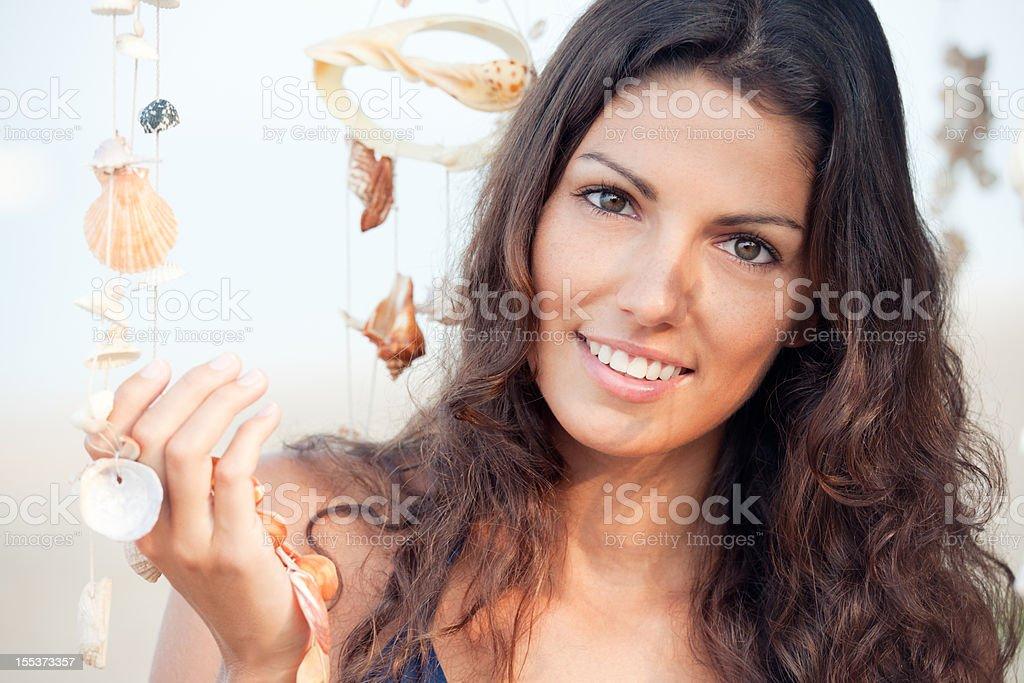 Beach Beauty Portrait with Seashells (XXXL) royalty-free stock photo