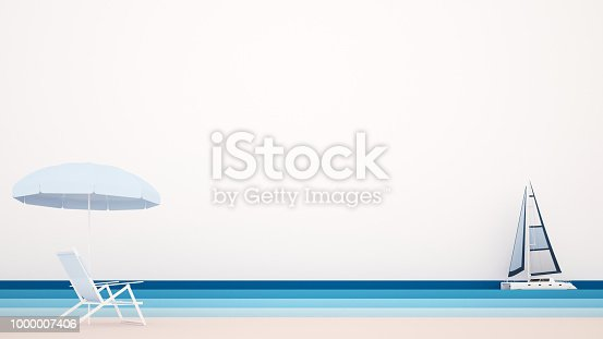 istock Beach bed with beach umbrellas and sailboat on the sea - Artwork for summer time - Illustration on the beach for holiday - 3D Illustration 1000007406