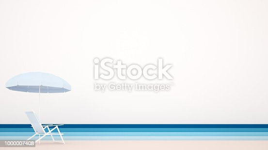 istock Beach bed with beach umbrellas and sea views - Artwork for summer time - Illustration on the beach for holiday - 3D Illustration 1000007408
