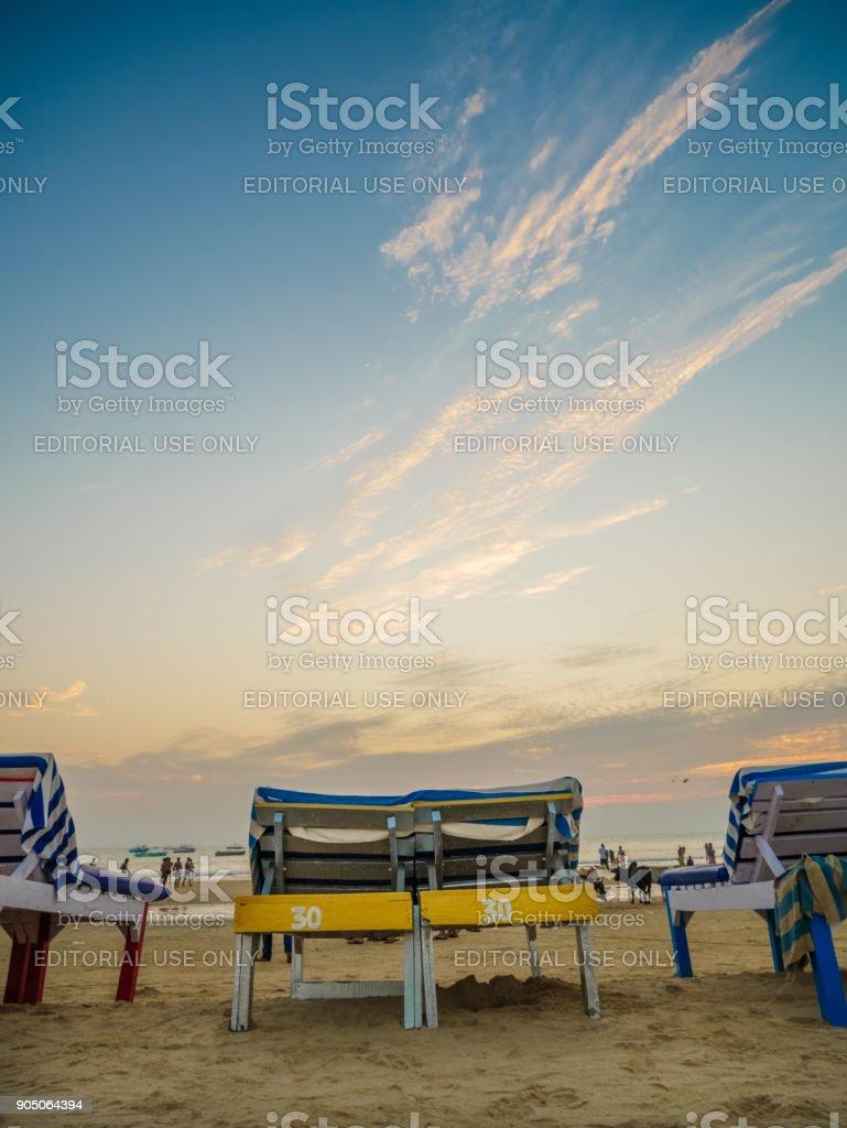 Beach bed with umbrella stock photo