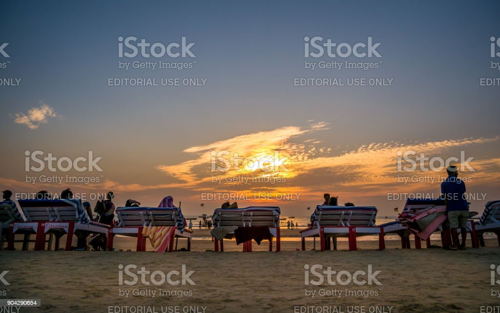 Beach Beds at Goa stock photo