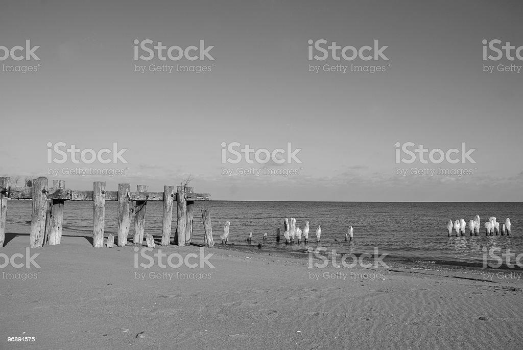 Beach black and white royalty-free stock photo