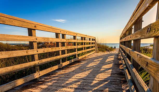 Beach Boardwalk at Sunset stock photo