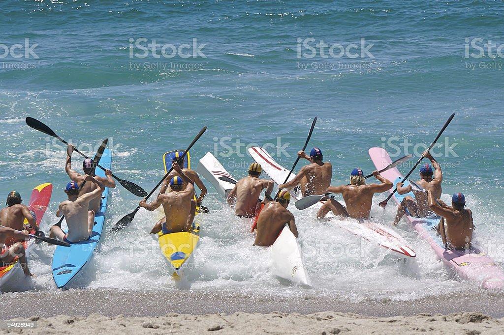 Beach boat race starting royalty-free stock photo