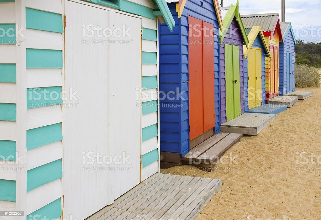 Beach Boxes at Brighton royalty-free stock photo