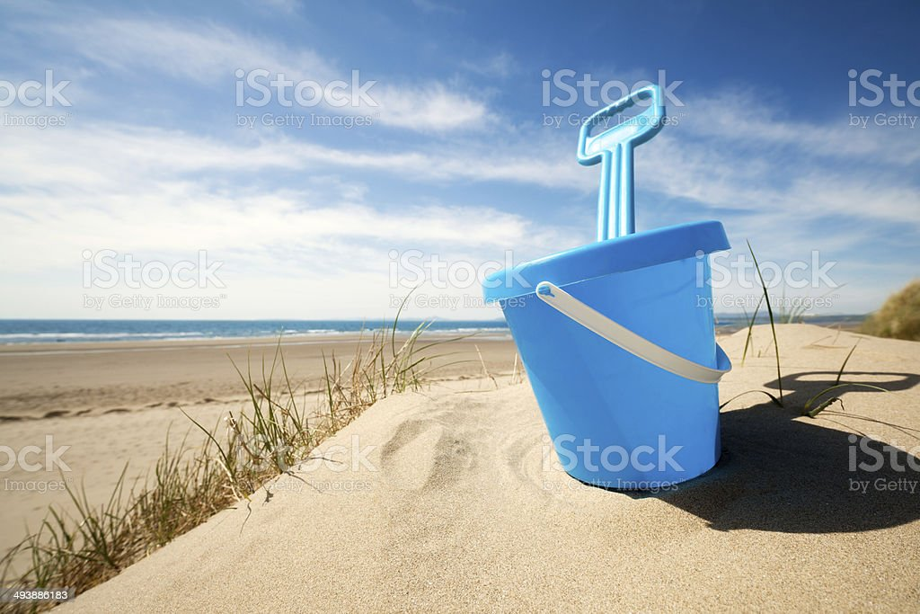 Beach bucket and spade stock photo