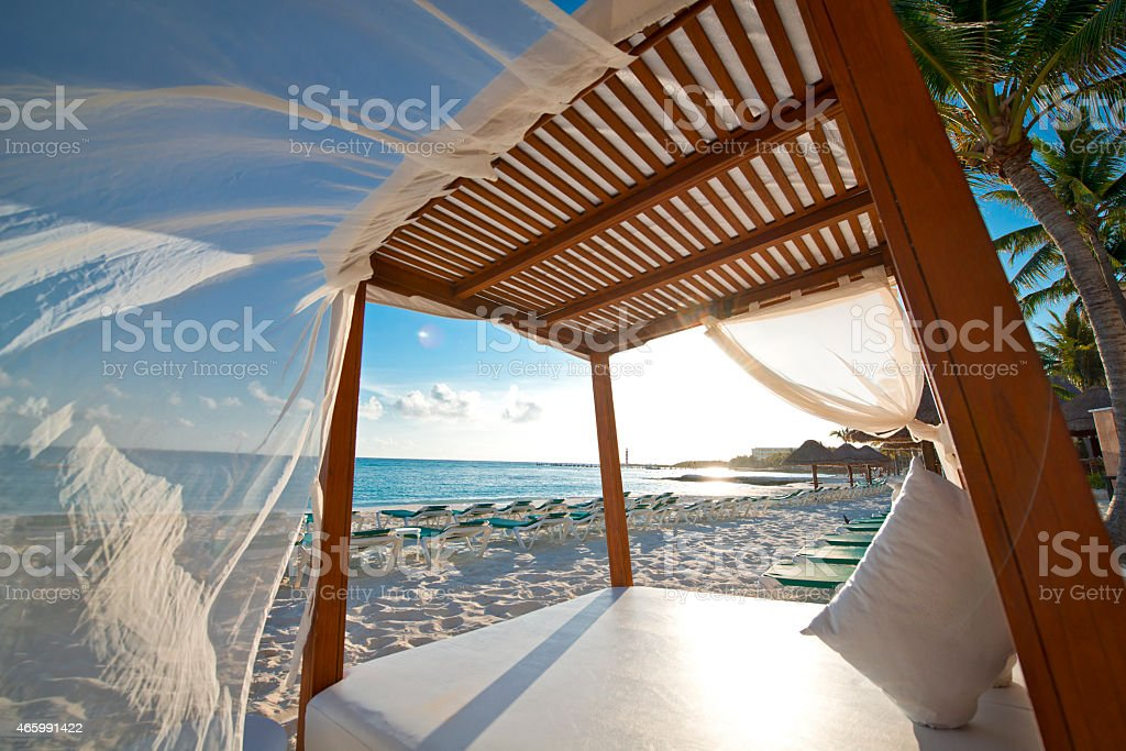 Beach Cabana Mexico stock photo