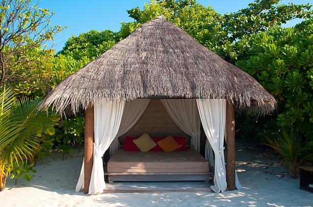 Beach Cabana on a maldivian island stock photo