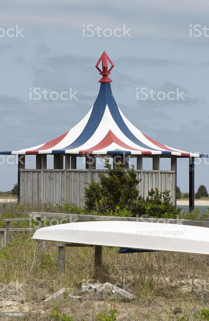 Beach Cabana, Red White and Blue Striped Pattern, Deserted royalty-free stock photo