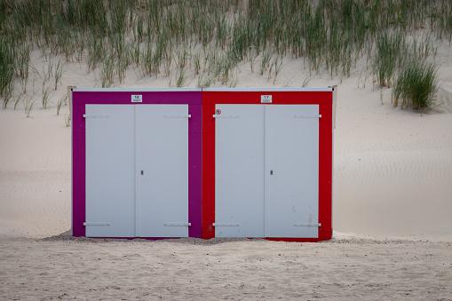 Beach cabins at North Sea beach in Domburg, Zeeland, the Netherlands