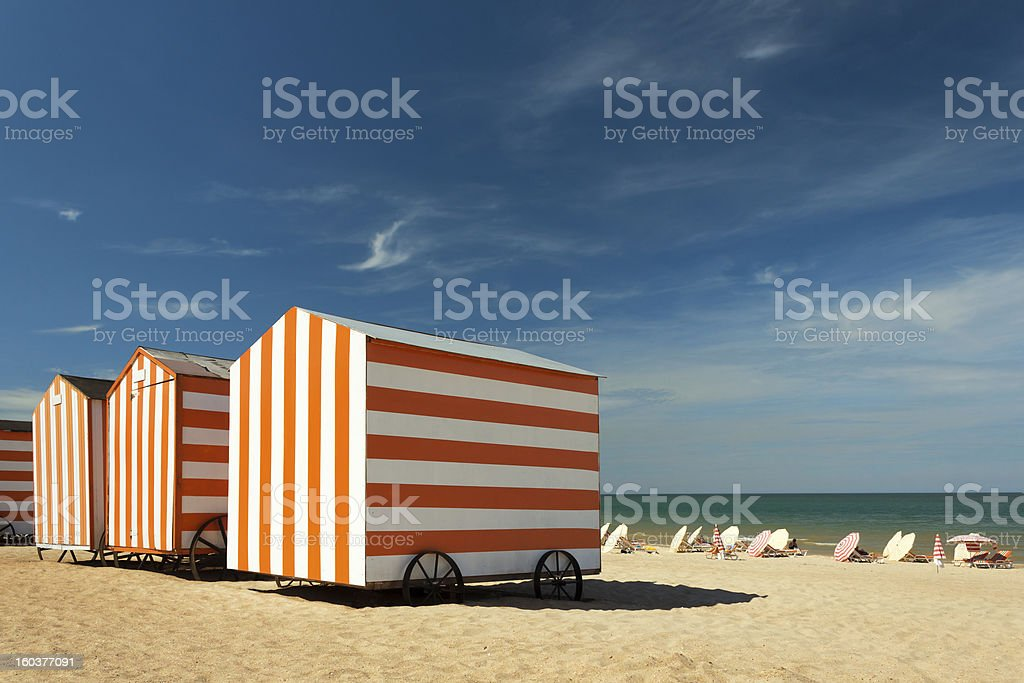 Beach cabins at the Northsea, De Panne, Belgium​​​ foto