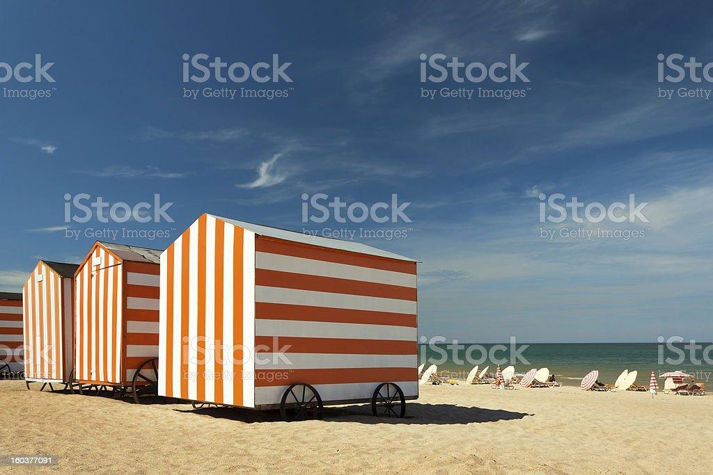 Beach cabins at the Northsea, De Panne, Belgium foto
