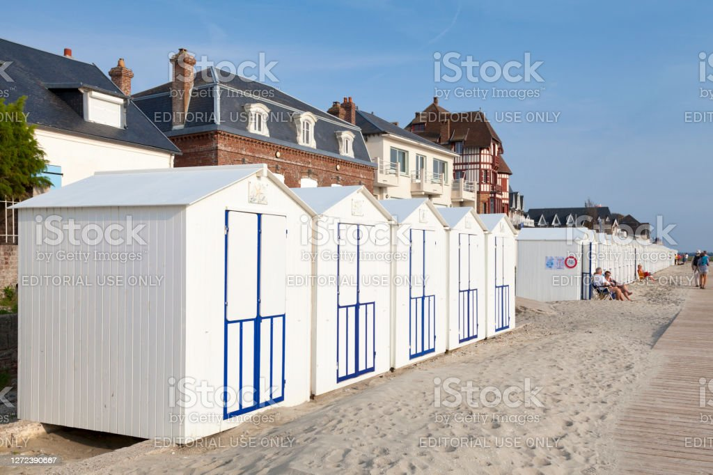 Beach cabins in Le Crotoy Le Crotoy, France - September 11 2020: Beach cabins along the promenade. Architecture Stock Photo