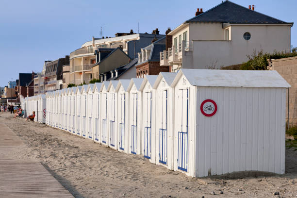 Beach cabins in Le Crotoy stock photo