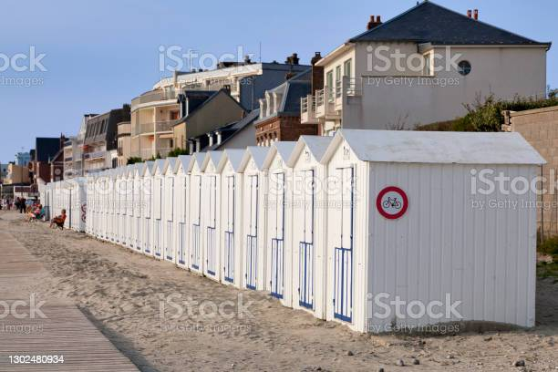 Beach Cabins In Le Crotoy Stock Photo - Download Image Now