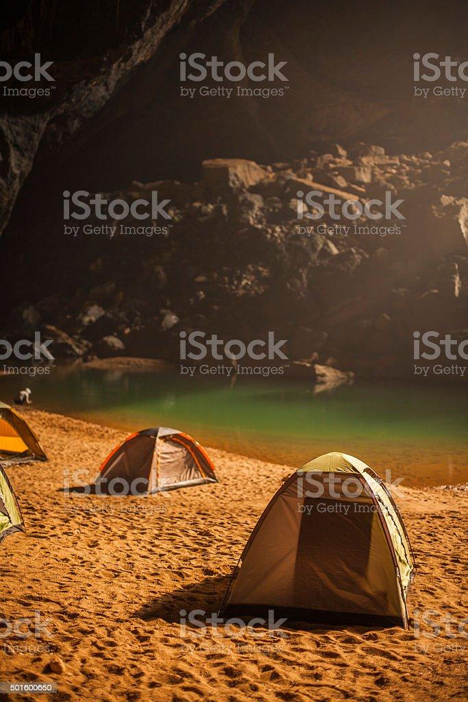 Beach camping in Hang En stock photo