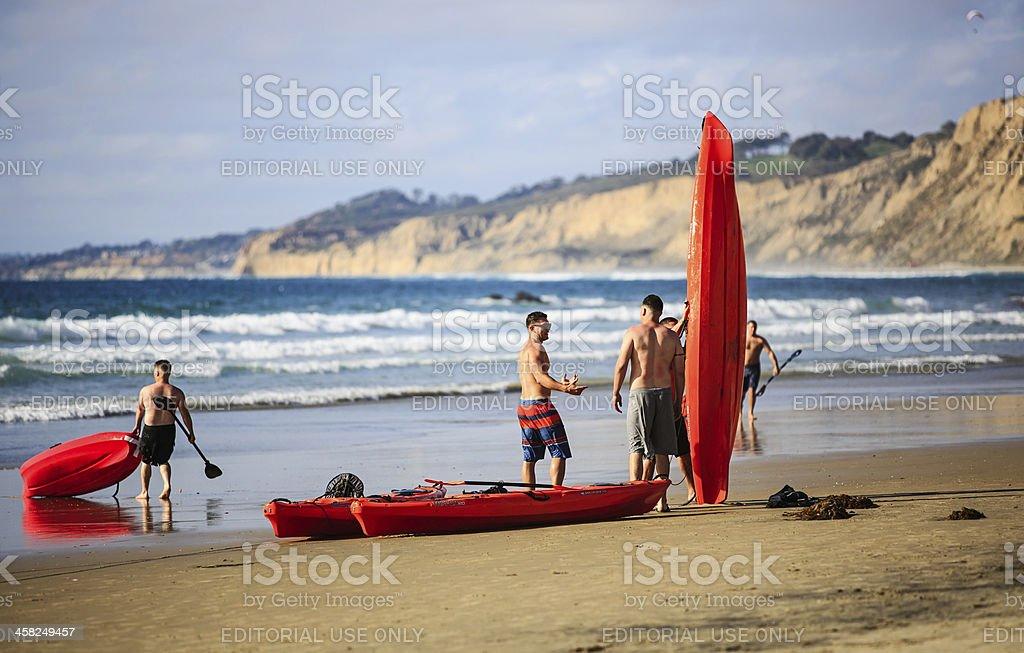 Beach Canoeing royalty-free stock photo