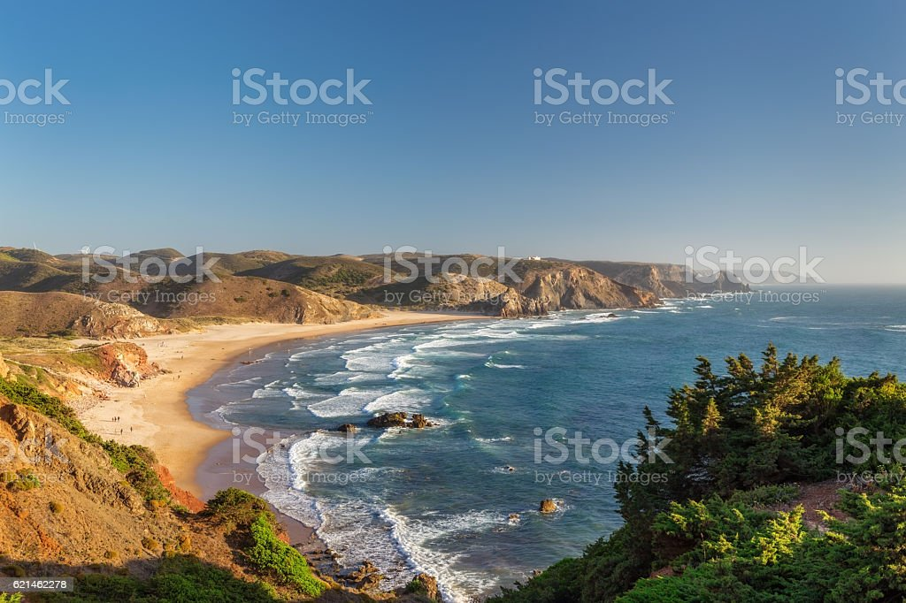 Beach carrapateira, summer for surfing. stock photo
