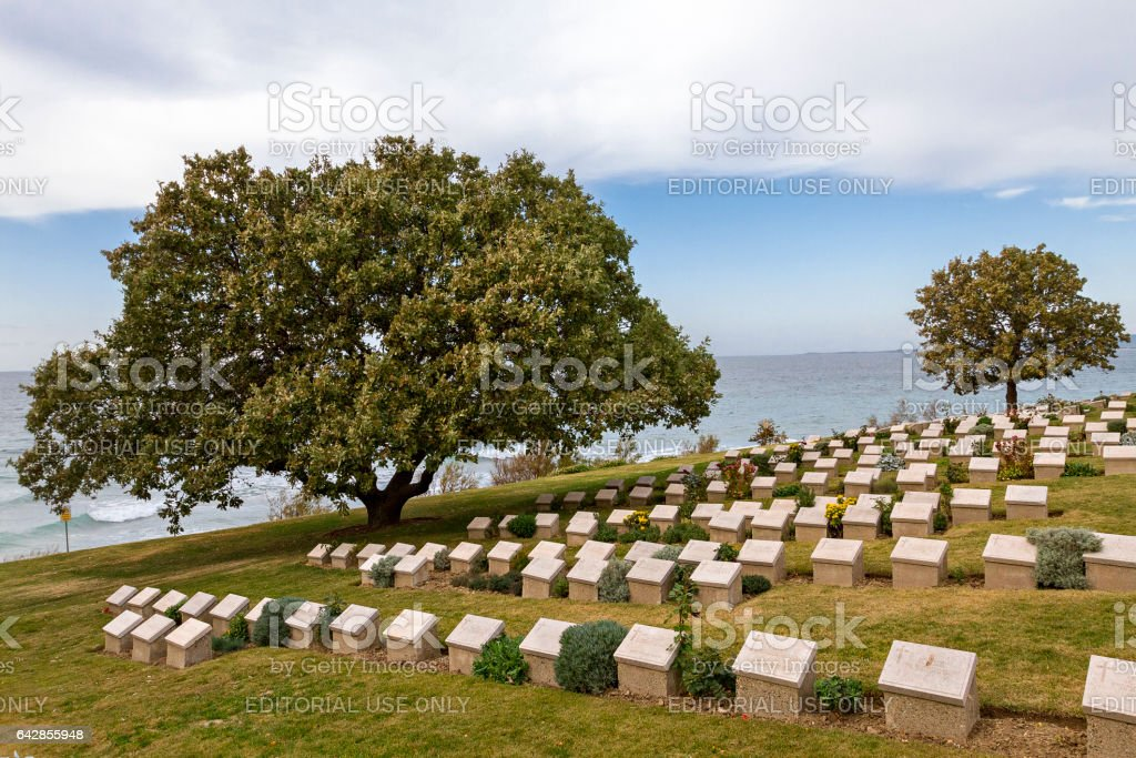 Canakkale, Turkey - November 24, 2015: Beach Cemetery at the Anzac Cove, in Gallipoli, Canakkale, Turkey. Beach Cemetery contains the remains of allied troops who died during the Battle of Gallipoli. stock photo