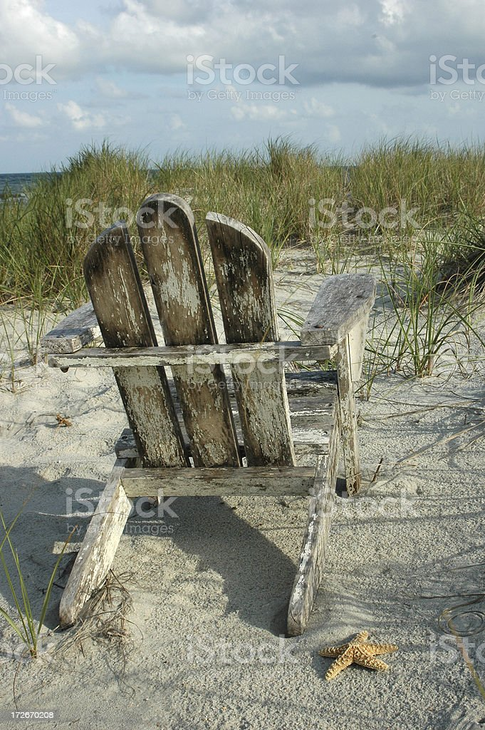 Beach Chair and Starfish royalty-free stock photo