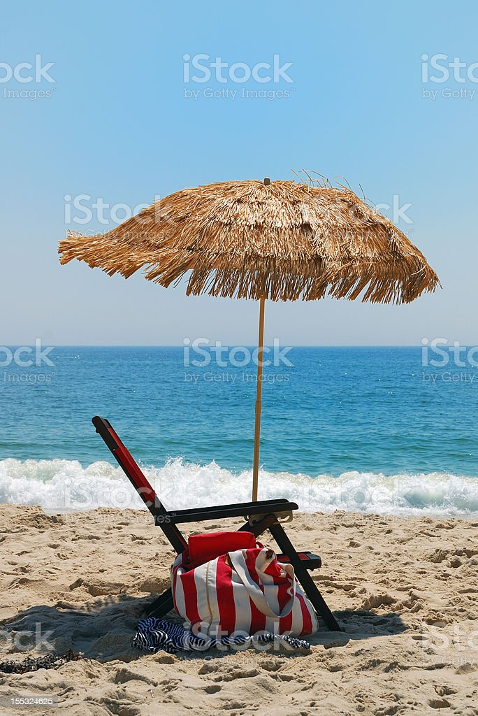 beach chair and umbrella royalty-free stock photo