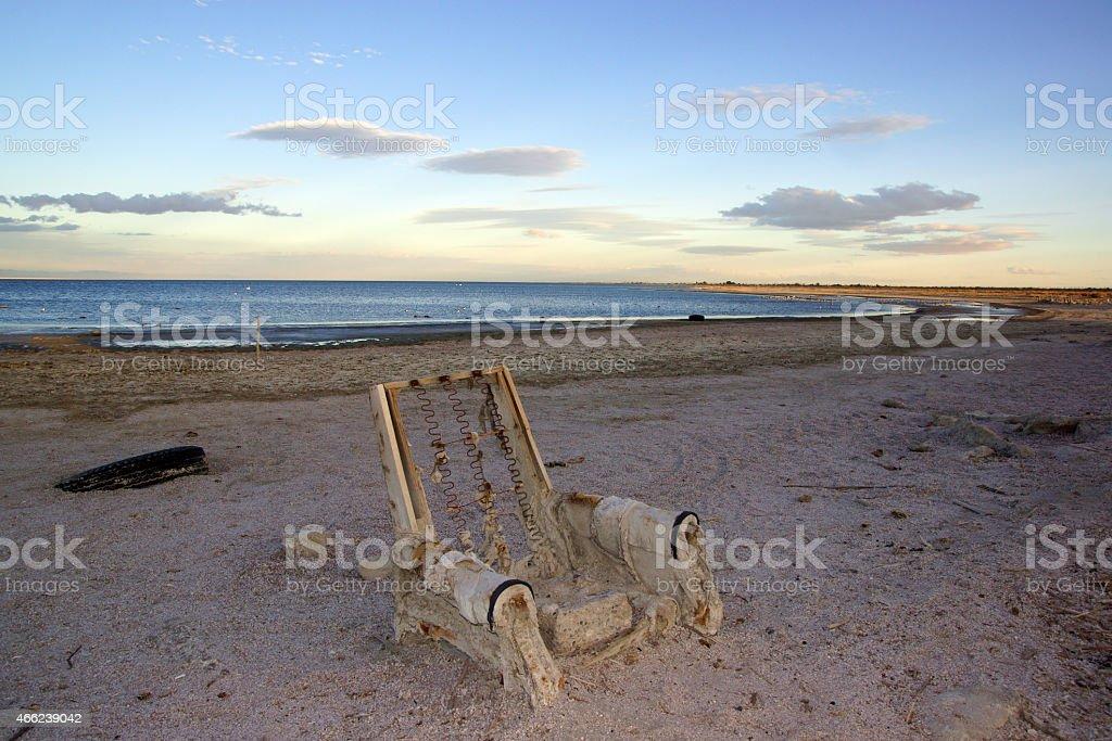 Beach Chair at the Salton Sea stock photo