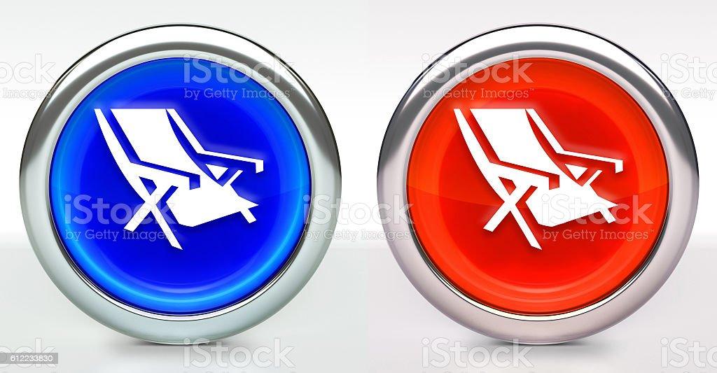 Beach Chair Icon on Button with Metallic Rim stock photo
