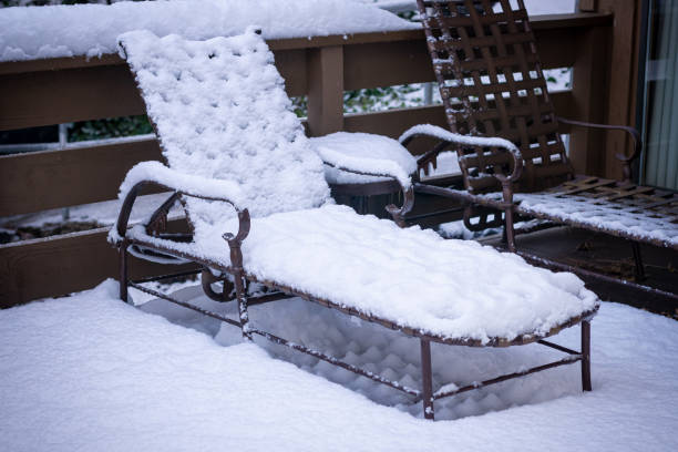 Beach Chair In Snow stock photo